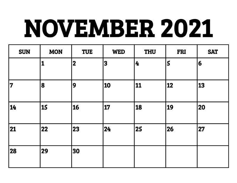 November 2021 Calendar Template For Google Sheets