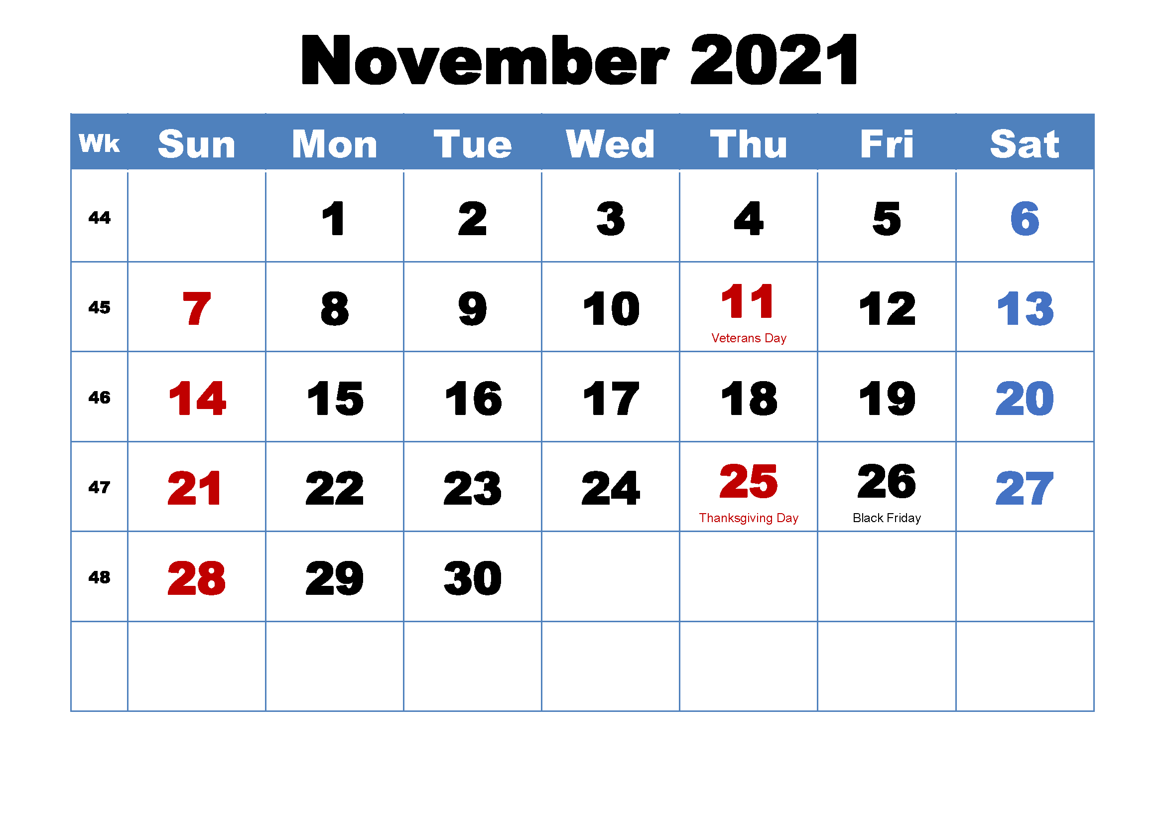 November 2021 Calendar Template Kindergarten