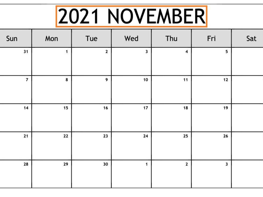 November 2021 Calendar Template