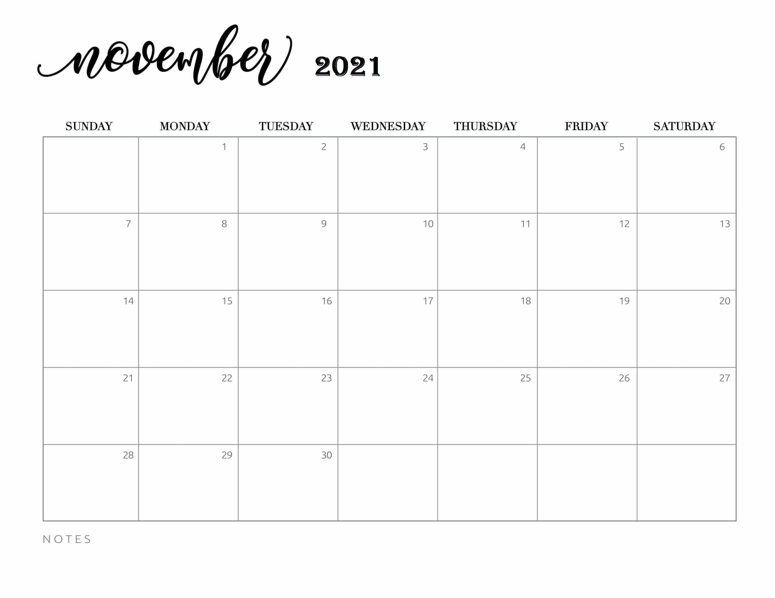 November 2021 Calendar With Festivals