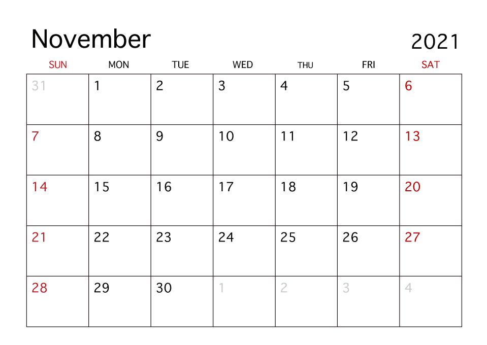 November 2021 Calendar With Holidays PDF