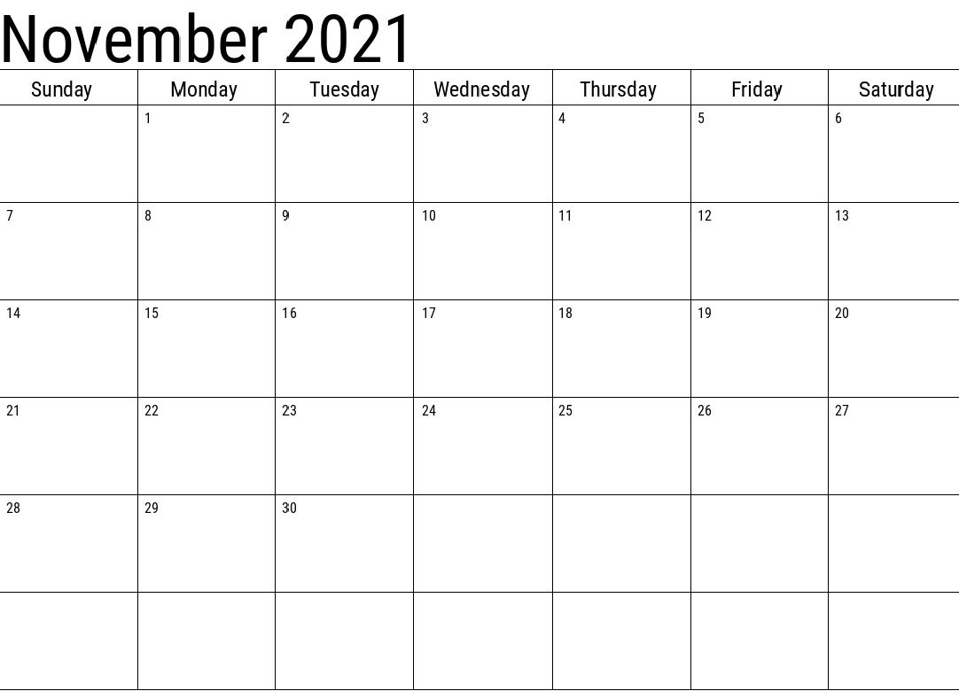 November 2021 Calendar With Holidays USA