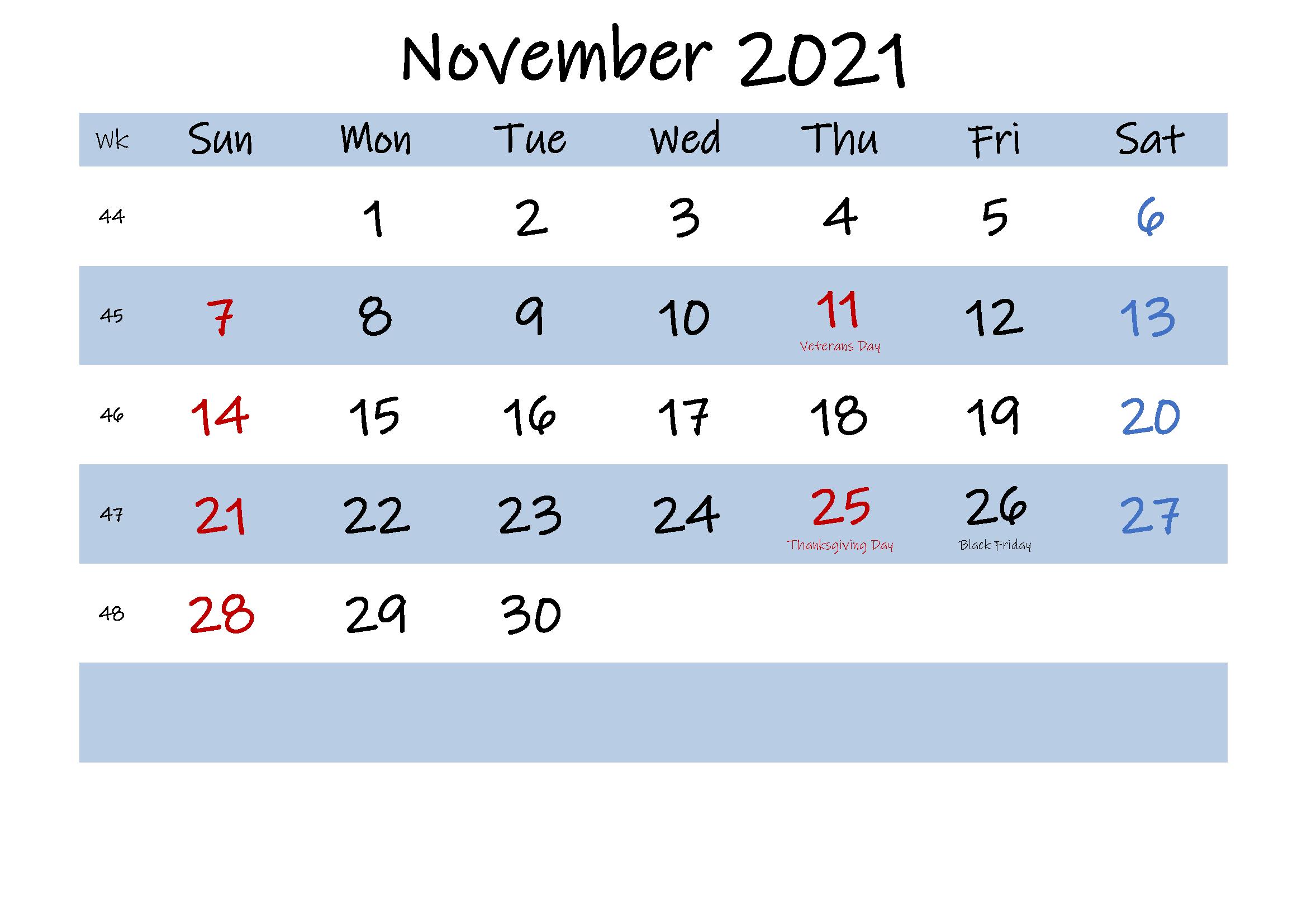 November 2021 Printable Calendar Coloring Pages