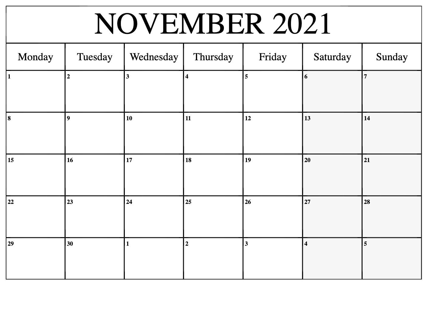 November Calendar 2021 Australia