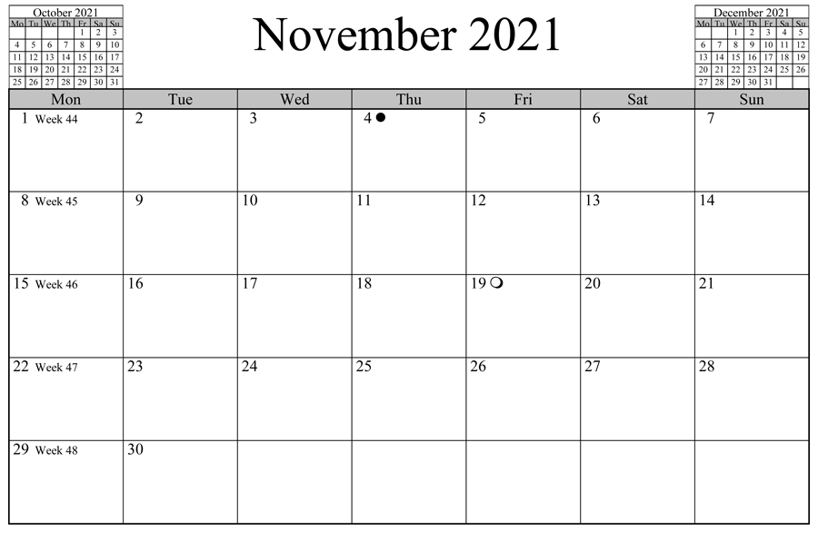 November Calendar 2021 Printable Free