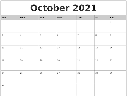 October 2021 Blank Calendar Excel Template