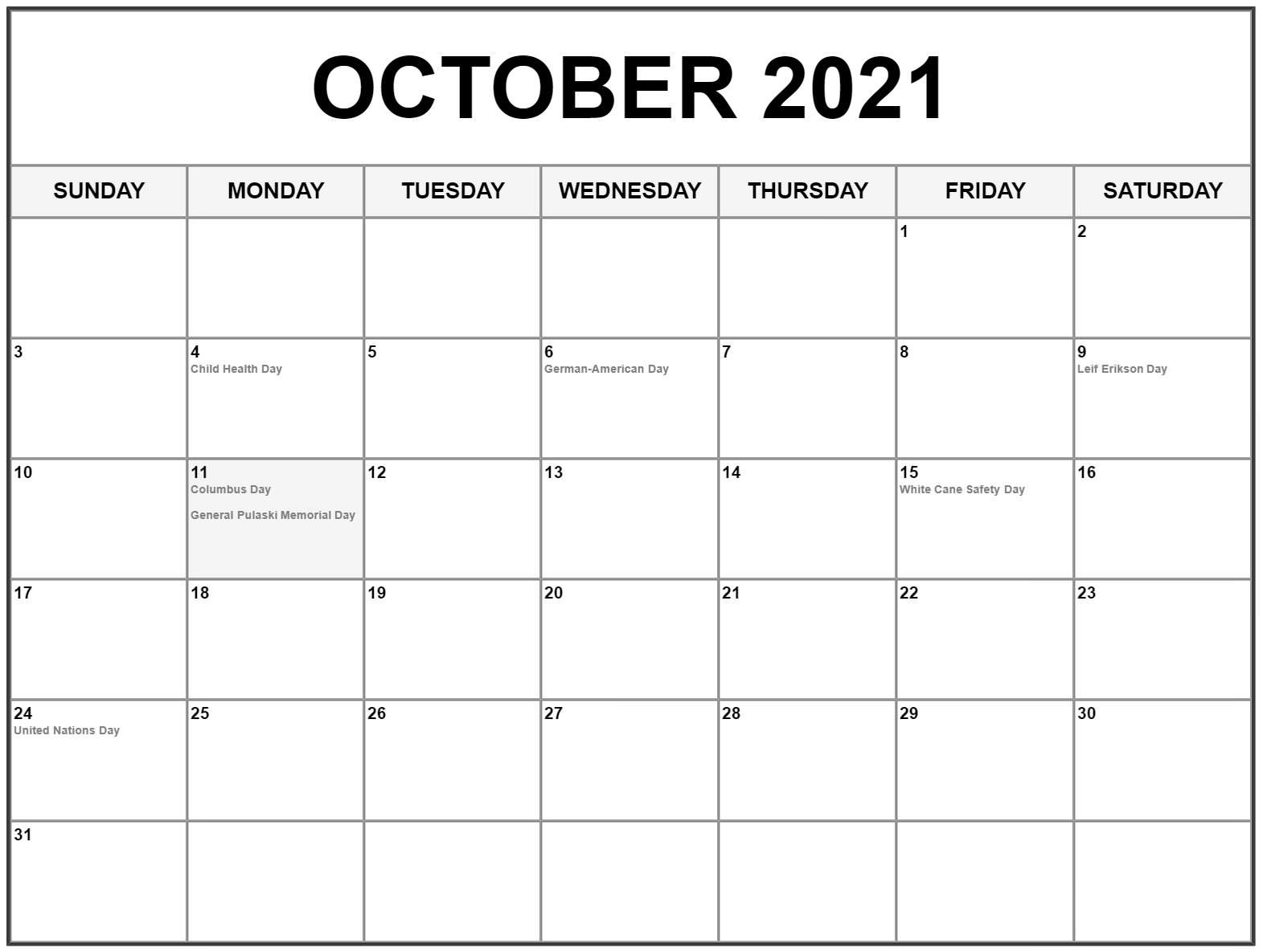 October 2021 Blank Calendar Colorful Chart