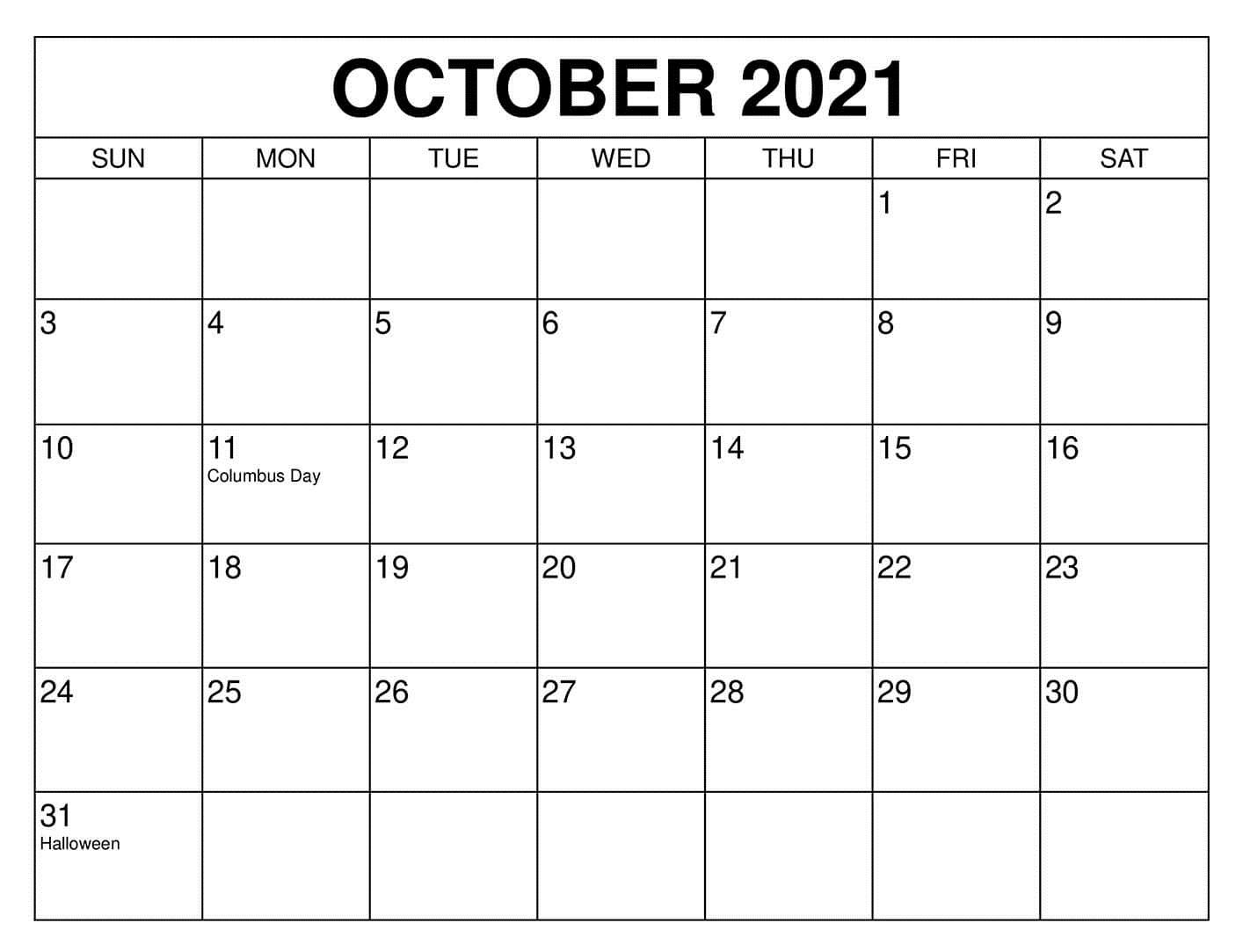 October 2021 Blank Calendar Word Template