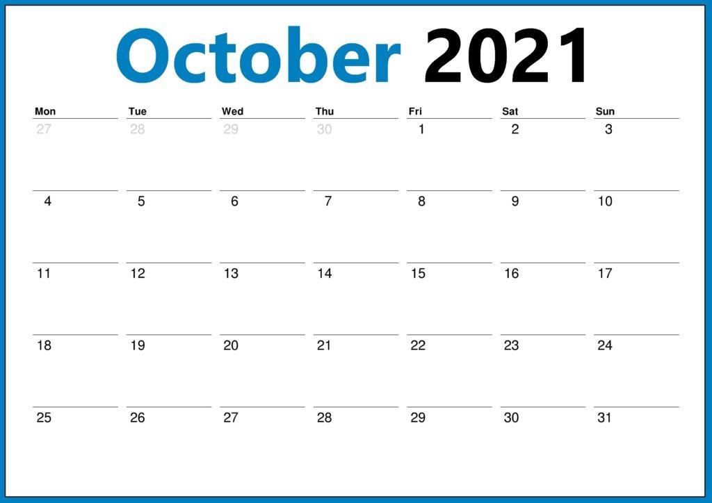 October 2021 Calendar Blank Cute Boxes