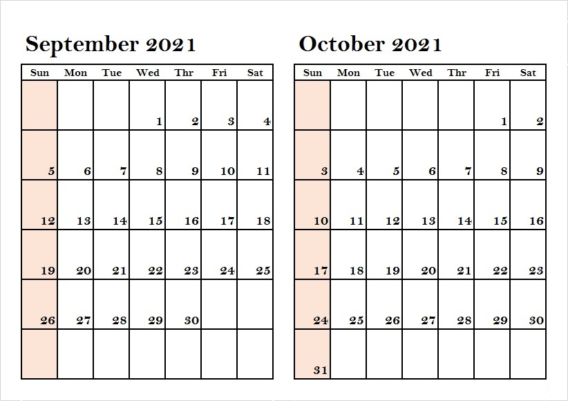 October 2021 Calendar Blank Erasable Monthly Wall