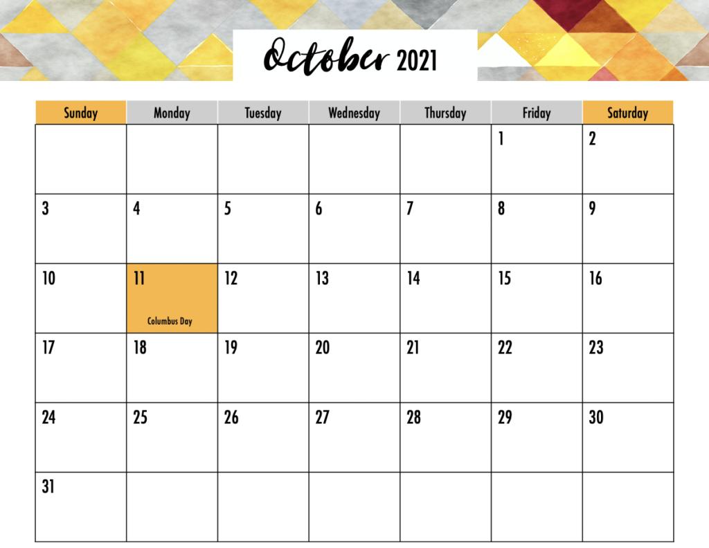 October 2021 Calendar Blank Half Page