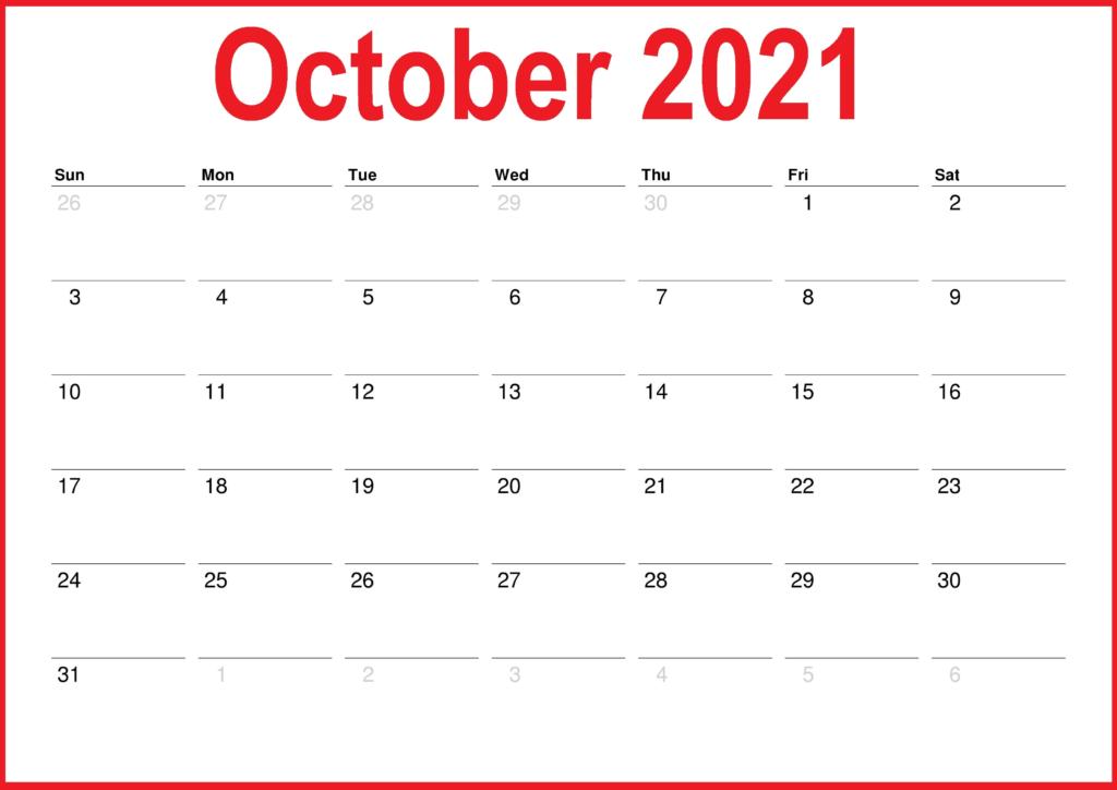 October 2021 Calendar Blank Hobby Lobby
