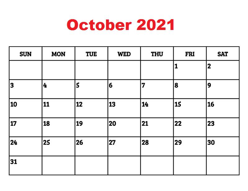 October 2021 Calendar Blank Landscape Large Square