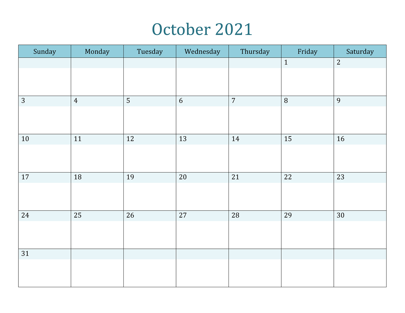 October 2021 Calendar Blank Portrait Orientation