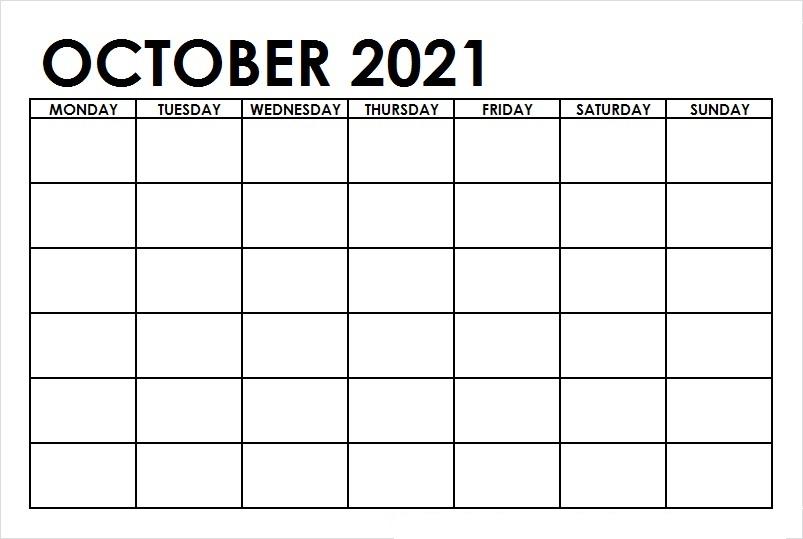 October 2021 Calendar Printable Free Editable Excel