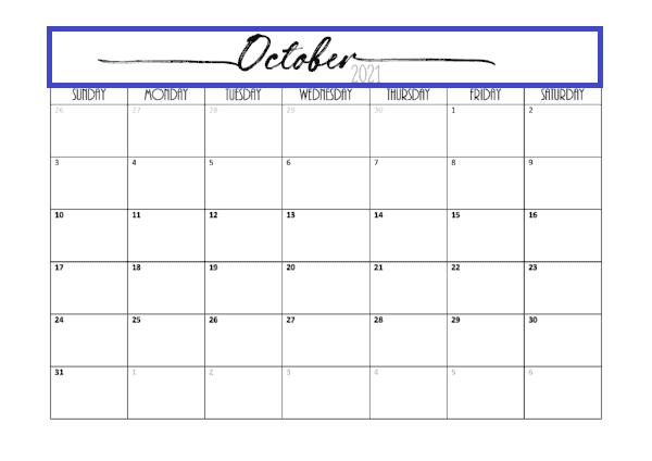 October 2021 Calendar Printable Landscape List