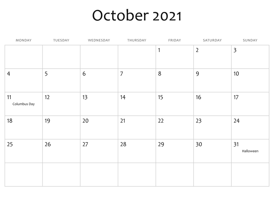 October 2021 Calendar Printable Online Reddit Planner