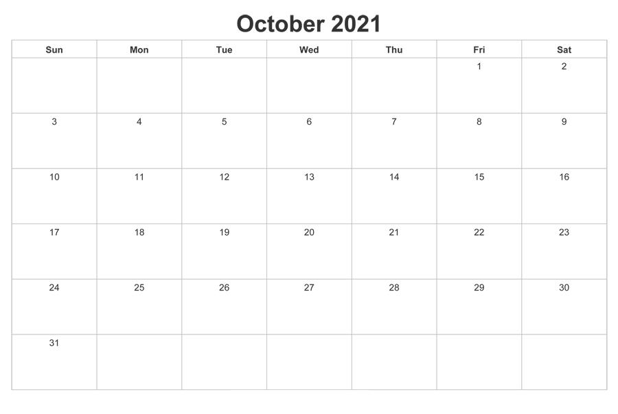 October 2021 Calendar Printable Wiki