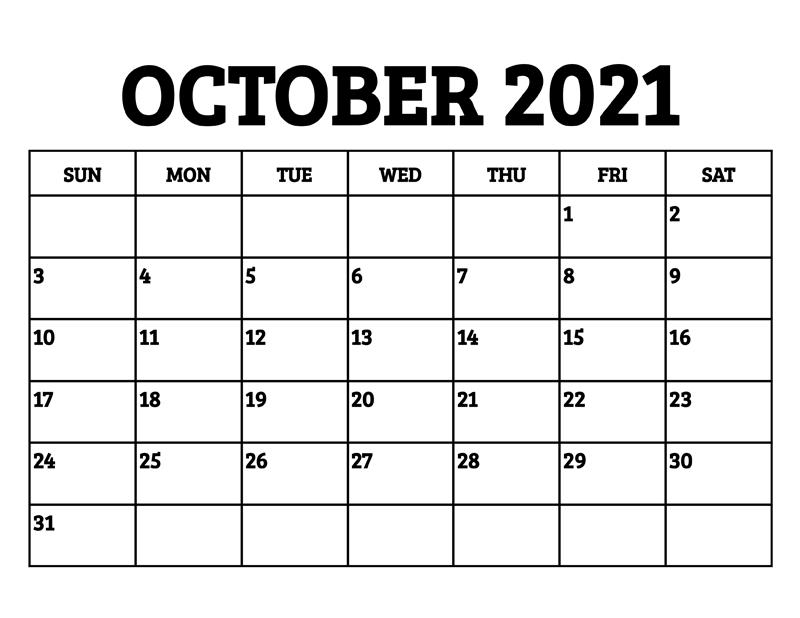 October 2021 Calendar Tamil Editable
