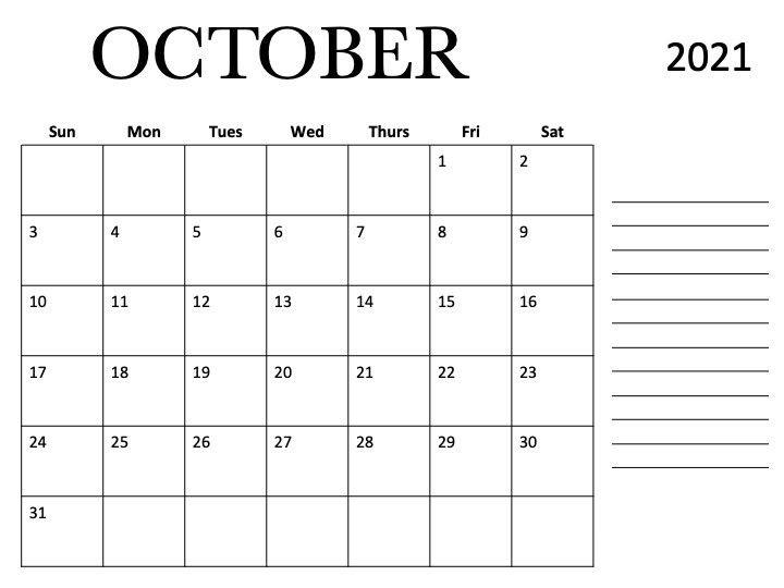 October 2021 Calendar Template in Html Word