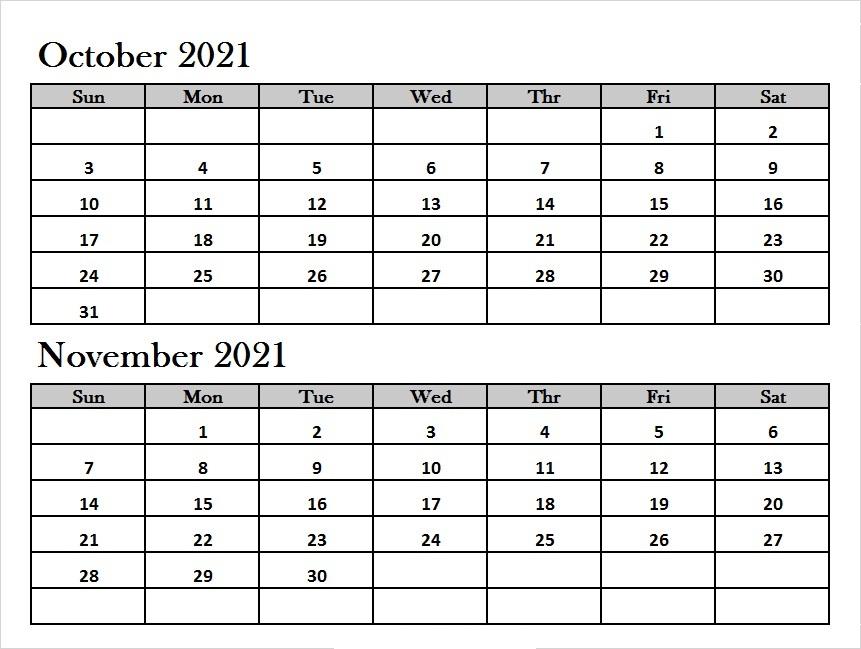 October 2021 Calendar Template