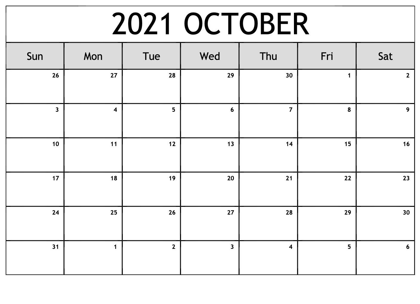 October 2021 Calendar With Bank Holidays