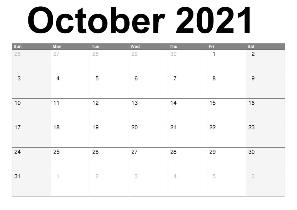 October 2021 Calendar With Holidays Canada