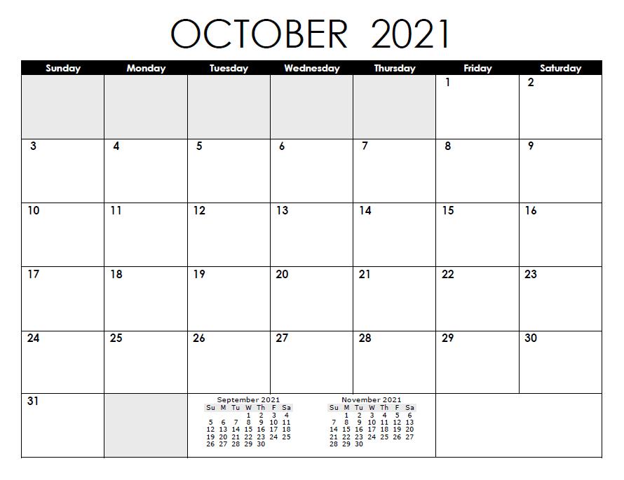 October 2021 Calendar With Jewish Holidays
