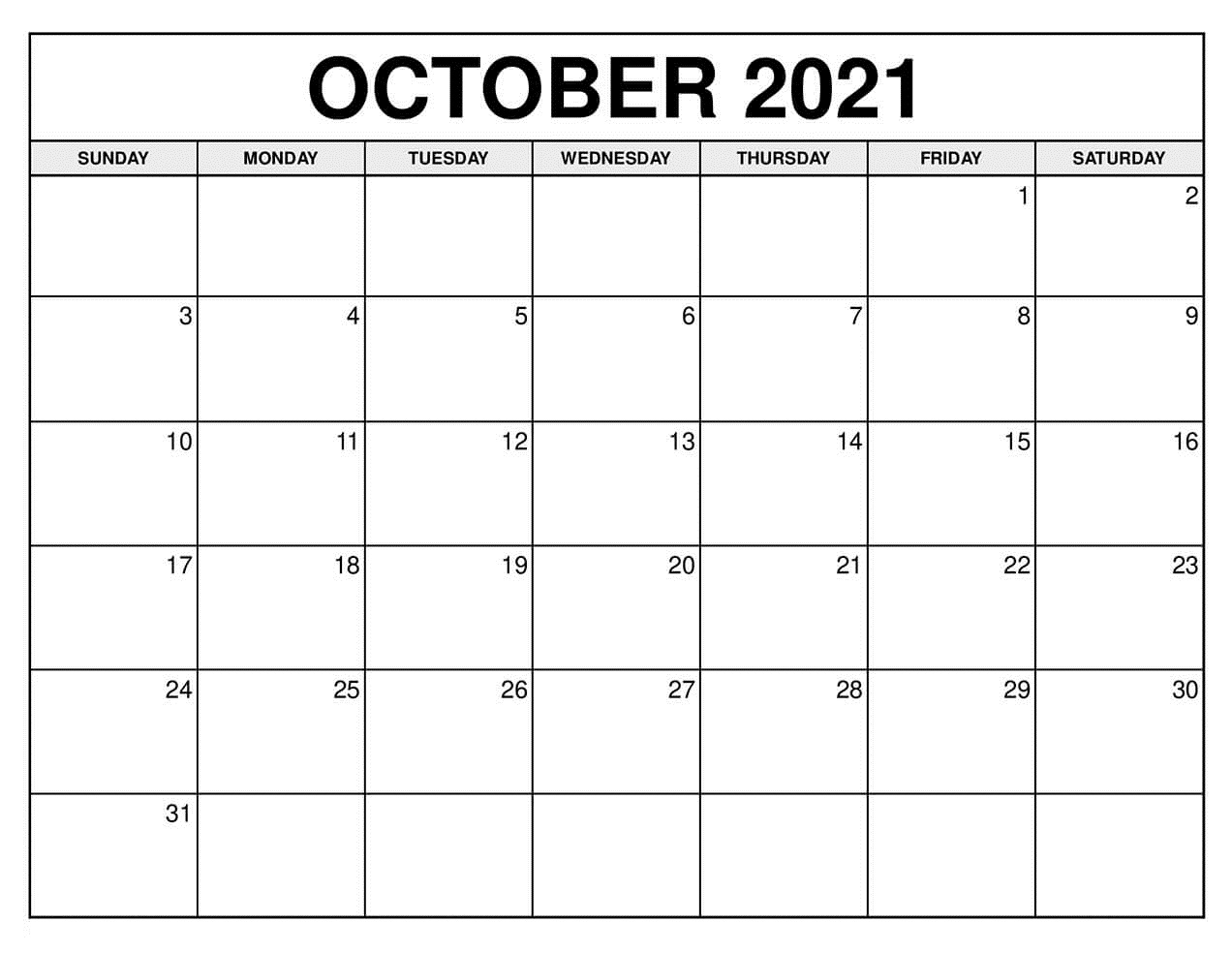 October Calendar 2021 Excel PDF