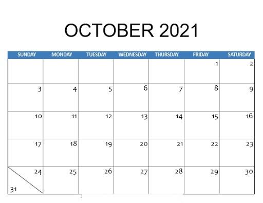 October Calendar 2021 Odia