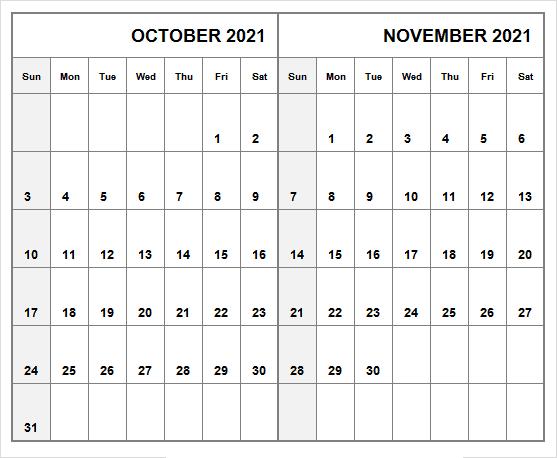 October Calendar 2021 With Holidays