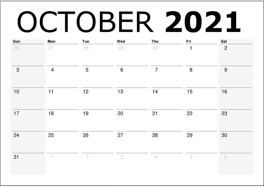 October Calendar 2021