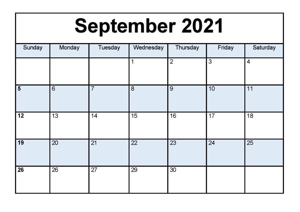 September 2021 Blank Calendar Chart