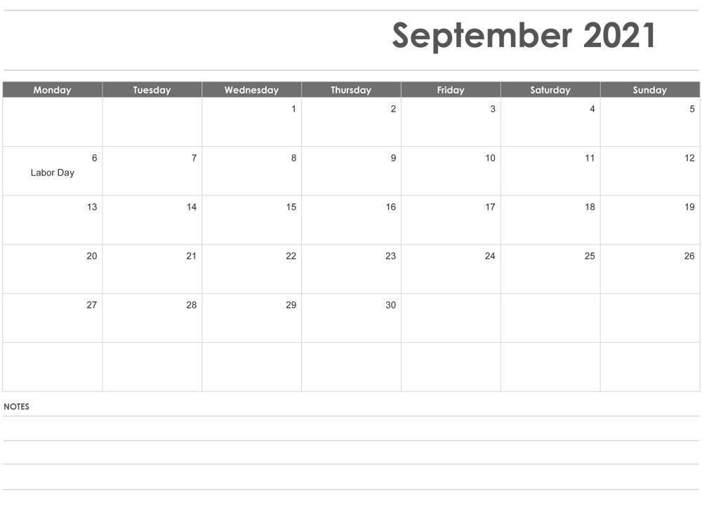 September 2021 Blank Calendar Cute