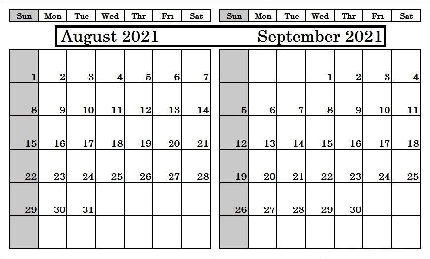 September 2021 Blank Calendar Excel Template