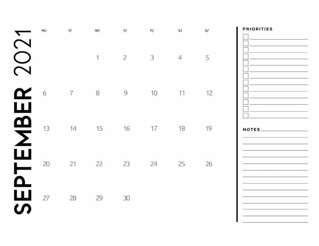 September 2021 Calendar Printable Hourly