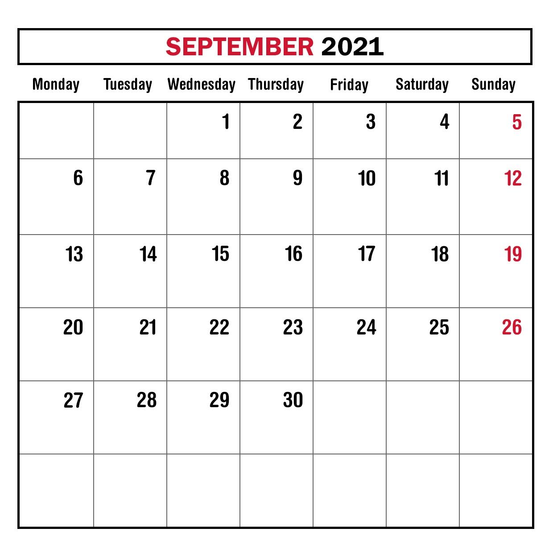 September 2021 Calendar Template for Google Sheets