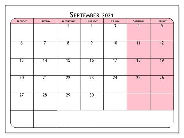September 2021 Printable Calendar PDF
