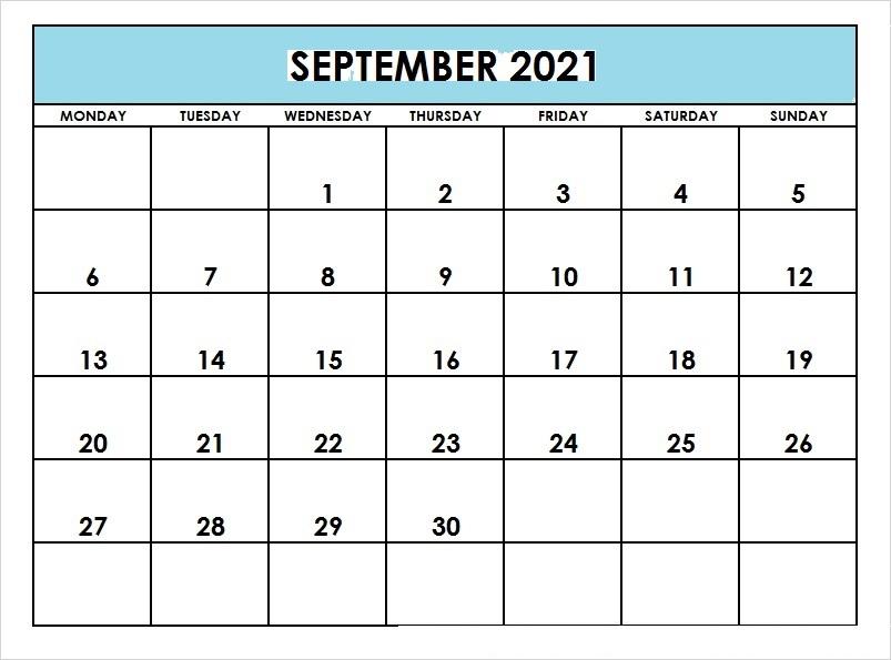 September 2021 Printable Calendar Wiki