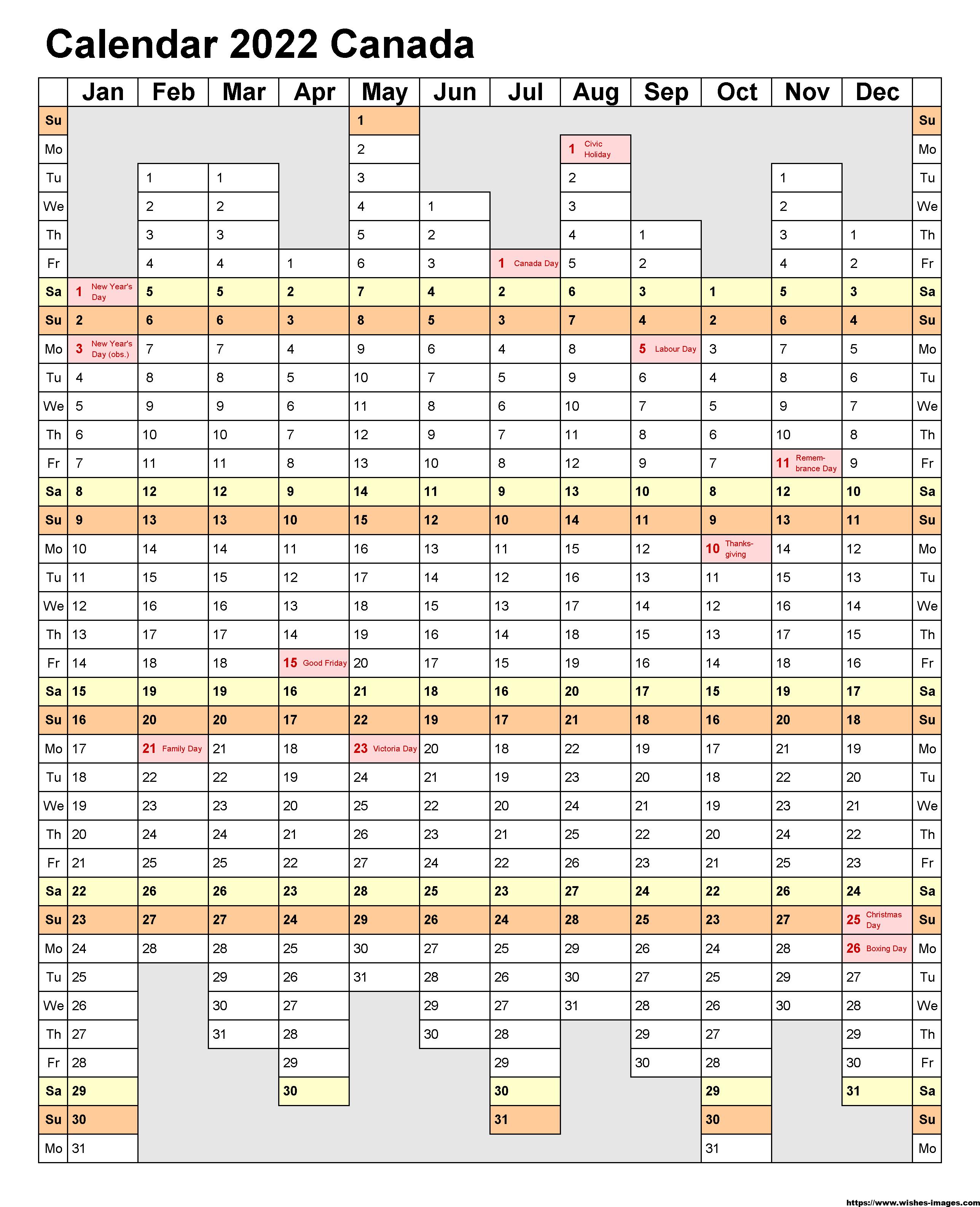 2022 Calendar Template Free Download
