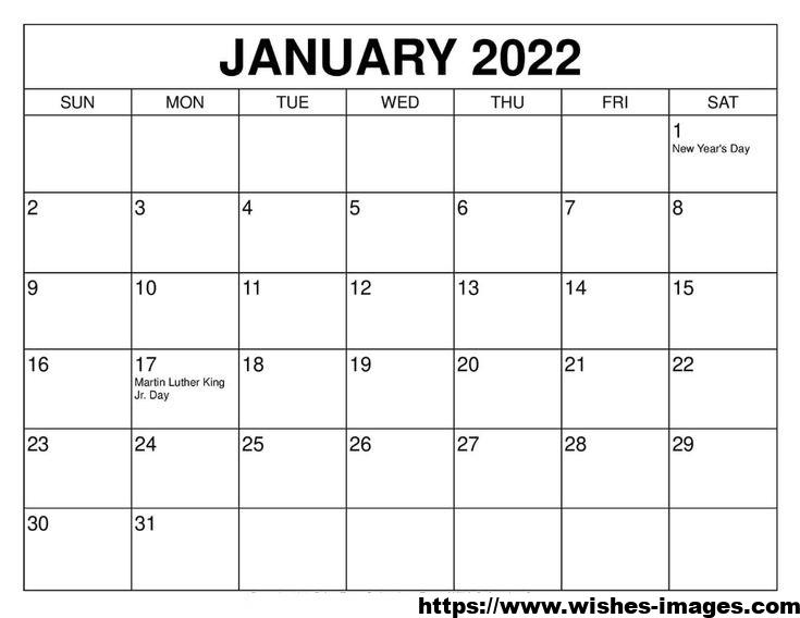 2022 Monthly Calendar PDF