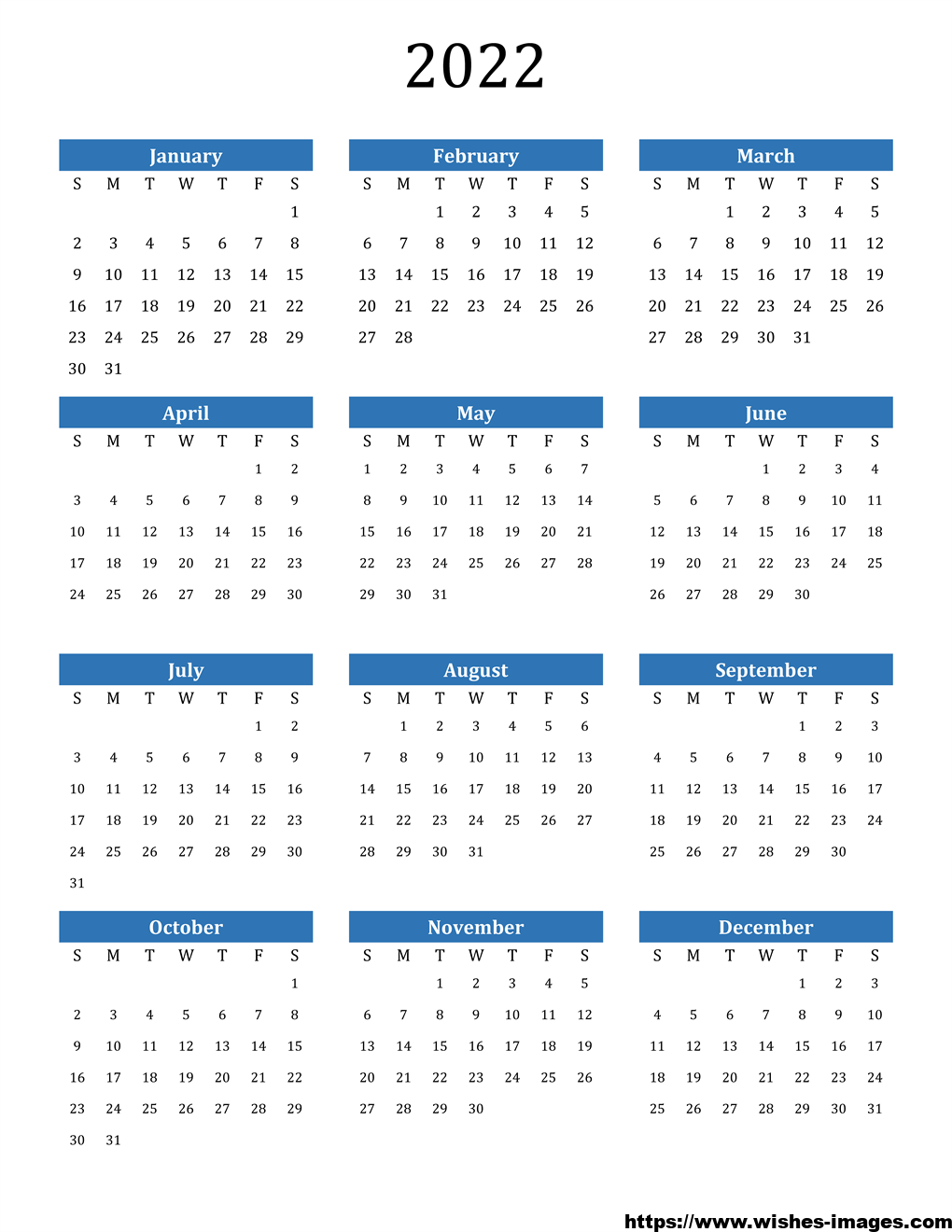 2022 Printable Calendar One Page Vertical
