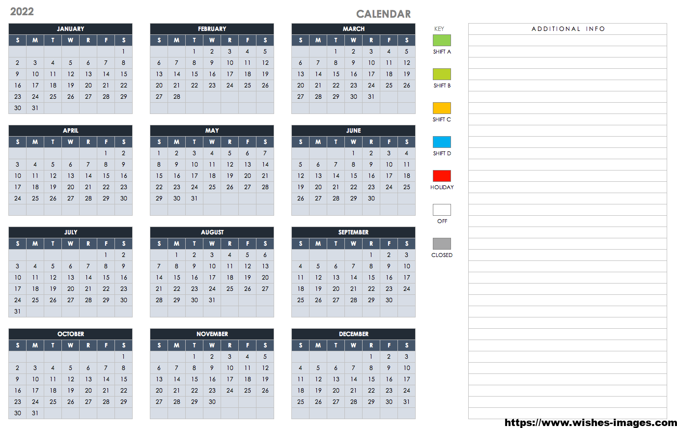 2022 Printable Calendar One Page With Notes