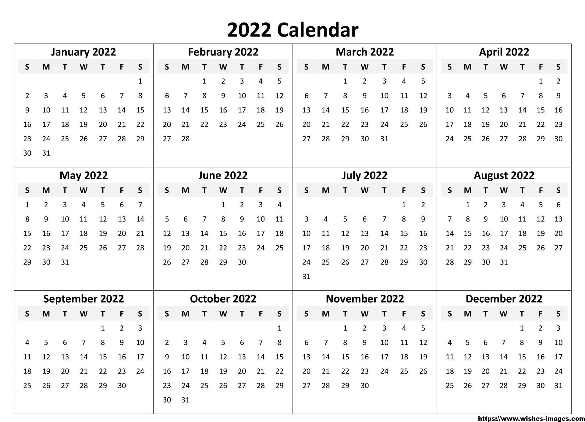 2022 Printable Calendar One Page