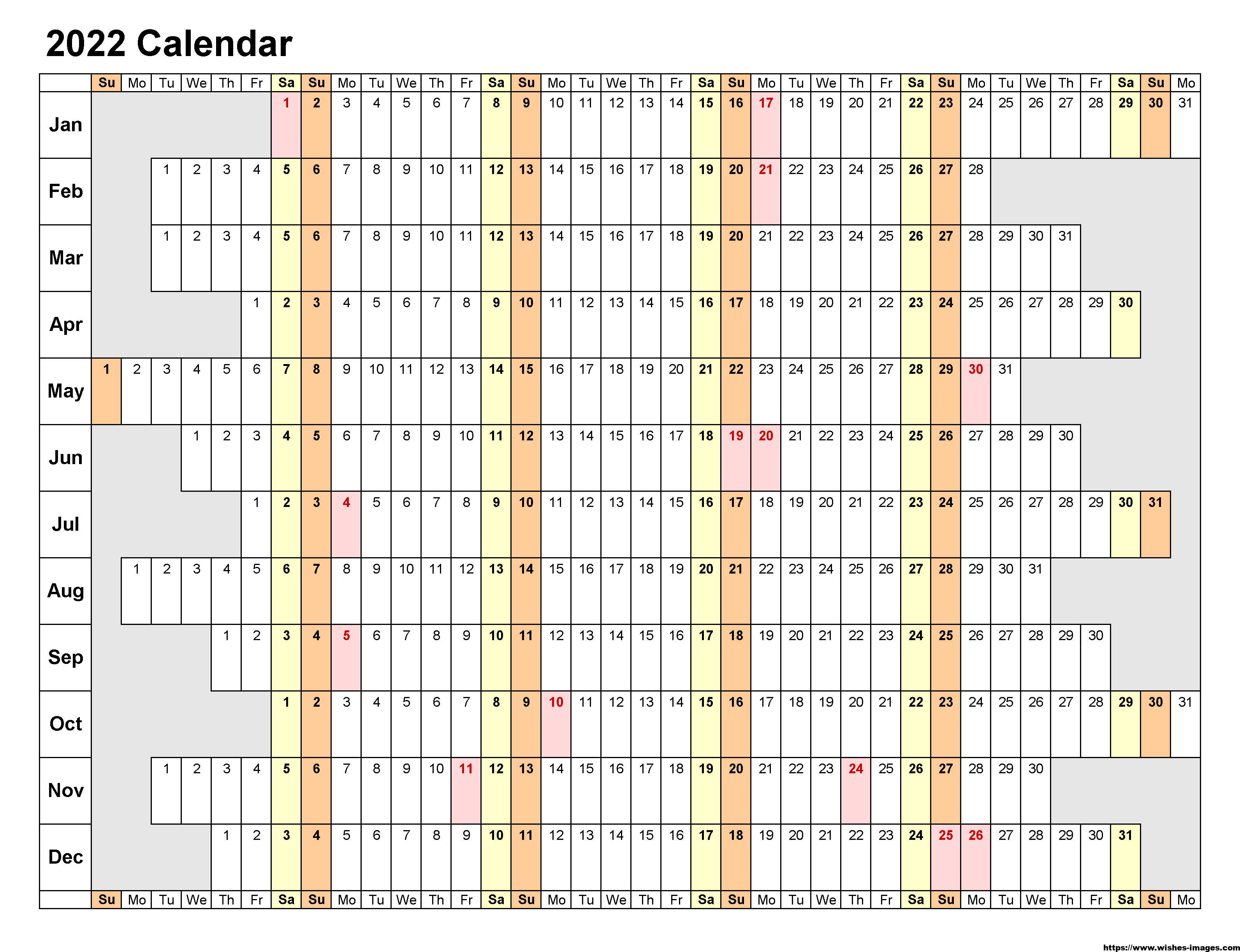 2022 Printable Monthly Calendar One Page