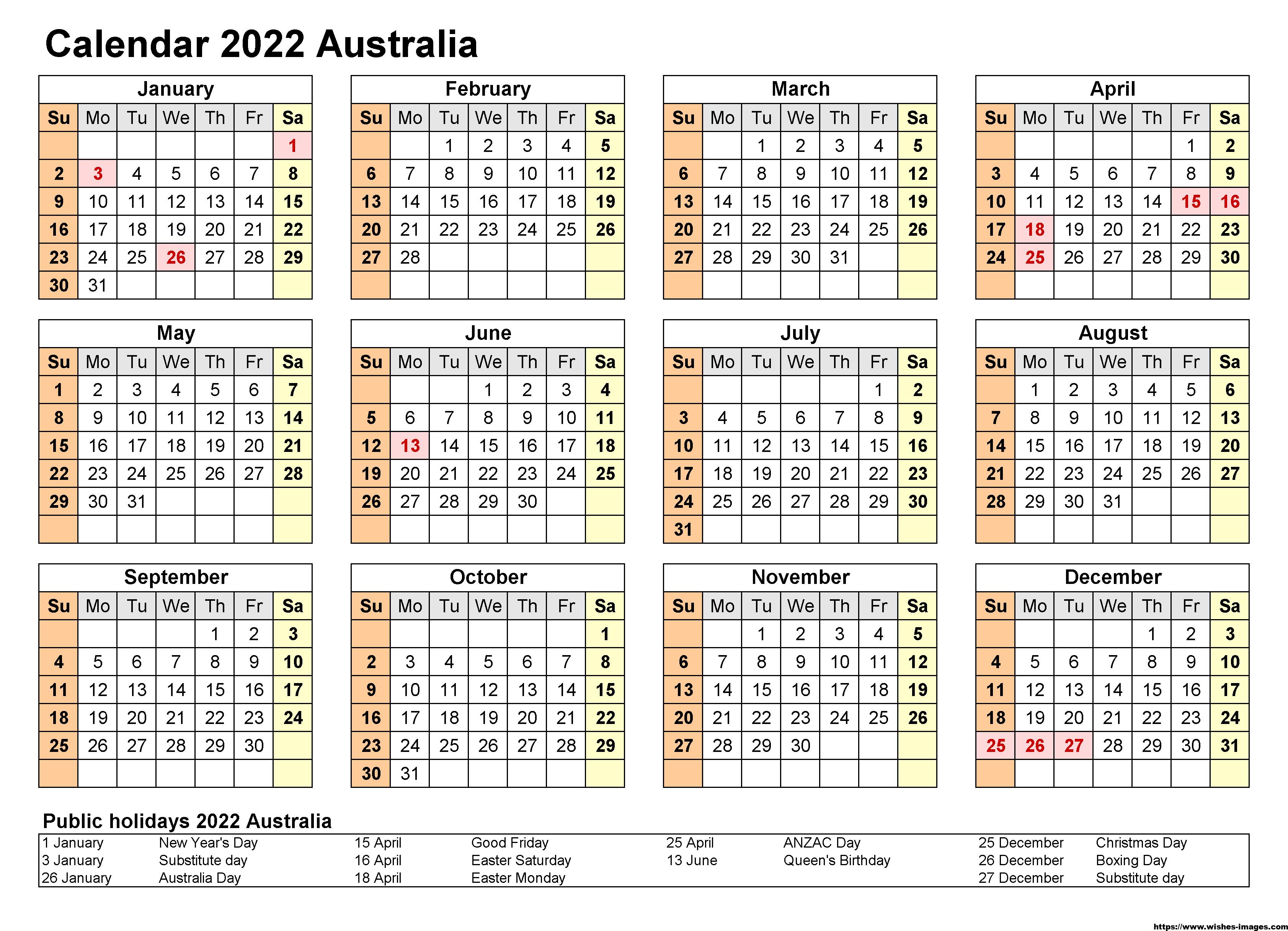 Printable 2022 Calendar Blank Templates