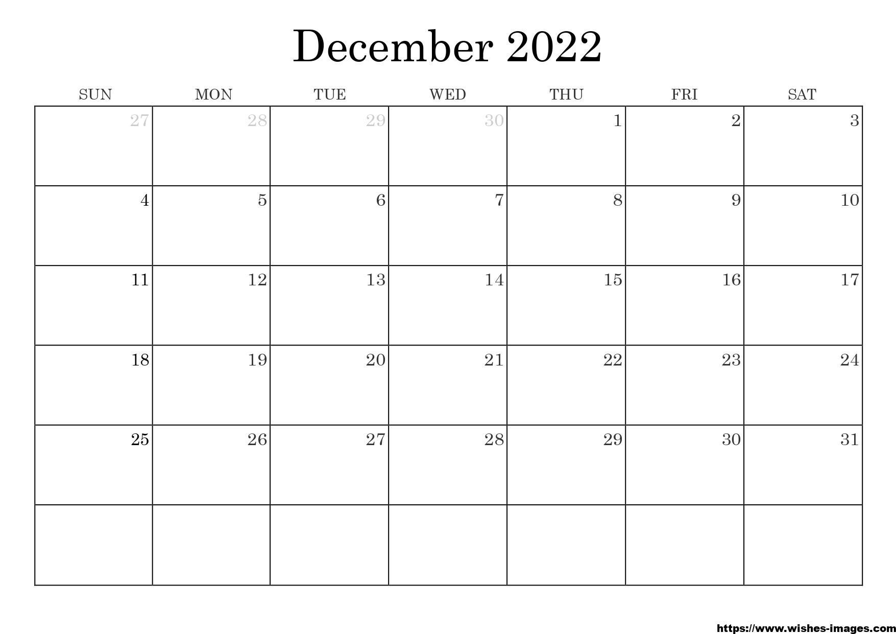 Printable 2022 Calendar Template